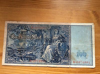 German Weimar Germany 100 Reichsbanknote Hundert Mark Paper Currency Note 1908