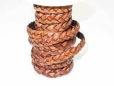 "Flat leather braided cord...20 yards of antique brown   3/8"" wide (10mm) ..02072"