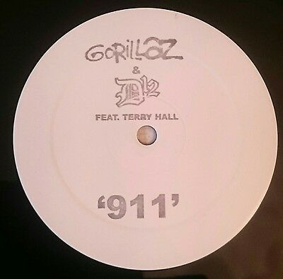 """911 Gorillaz 12"""" White Label Promo One Sided Vinyl with D12 & Terry Hall Rare"""