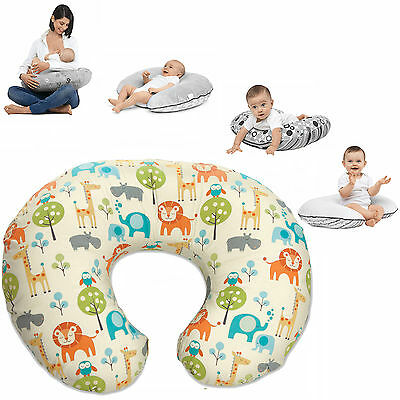 New Chicco Peaceful Jungle Boppy Nursing Feeding Pillow With Cotton Slip Cover