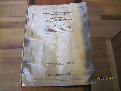 david bradley pedal guide cultivator instruction manual, 1936 Sears and Roebuck