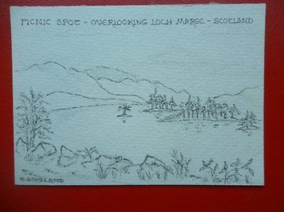 Postcard Nairnshire Loch Marge - Picnic Spot Pencil Sketch