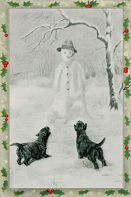Cairn Terrier Dogs vs Snowman 1934 M. Kirmse ~ LARGE New Christmas Note Cards