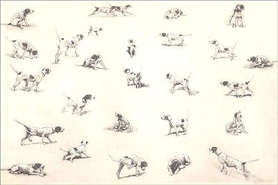 Pointer Dogs Scratch & Play  by Marguerite Kirmse 1935 8 New Blank Note Cards
