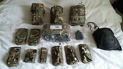 British Army Issue Mtp Webbing+11 Pouches+ Blackhawk Knee Pads And 3 Magpuls.