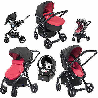 Chicco Urban Plus Travel System Red Passion Pram / Pushchair Mode With Raincover