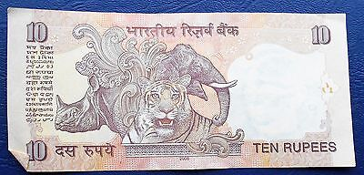 ND 1996-2002 Bank of India 10 Rupees Banknote P#89 Gandhi Elephant Tiger #  MP 4