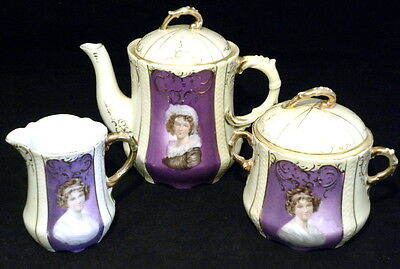 Antique German Porcelain Portrait Demitasse Coffee Pot & Cream Sugar Set - Gold