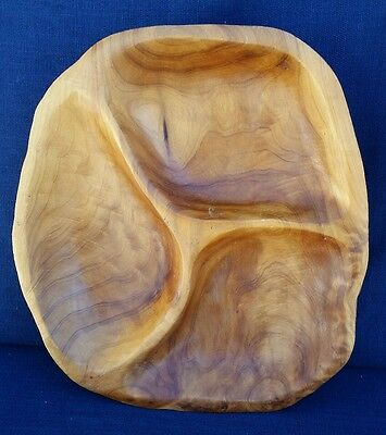 """Hand Carved Pine Burl Wood Bowl 3 Compartments Beautiful Unique 12""""×11"""""""