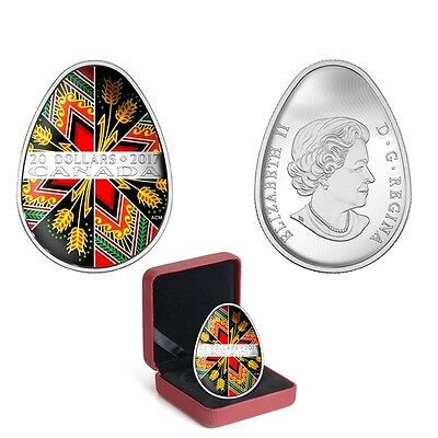 2017 Traditional Pysanka - Egg Shaped - 1 Oz Pure Silver Coloured 20$ Coin