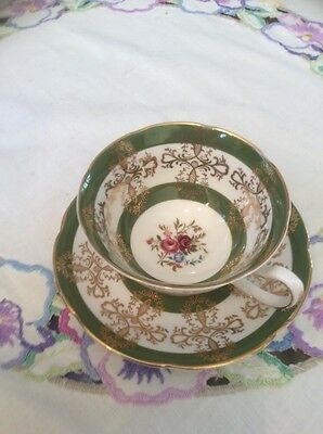 Royal Grafton Vintage China Cabinet Cup And Saucer Green Immaculate