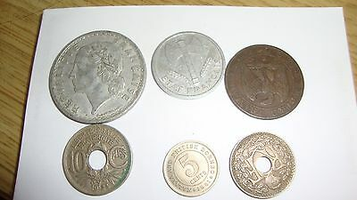 5 Vintage French Franc coins dating from 1856 to 1949