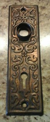Vintage Ornate Door Knob Hardware Back Plate Escutcheon  1 1/2 by 5 1/2