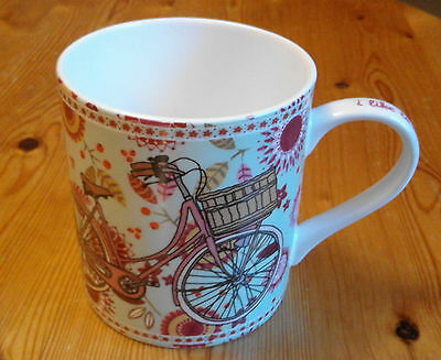 Queens Earth Mug New - Lovely Fine Bone China Lady Bicycle Pattern