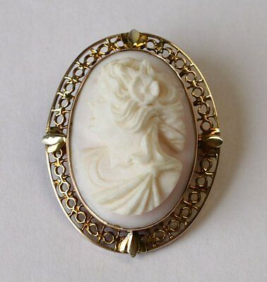 Beautiful 10K Gold Filigree Carved Shell Cameo Brooch/Pin/Pendant High Relief
