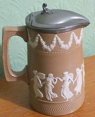 "Antique Copeland Spode Stoneware light brown/tan Jasper ""Dancing Hours"" JUG"