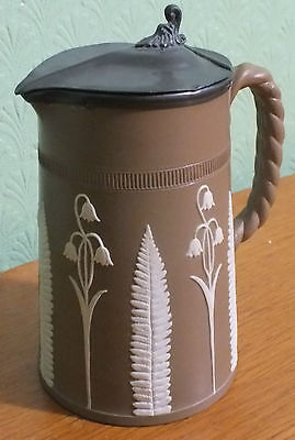 "Brown and White Sprigged Stoneware Lidded Jug Dudson ""bluebells"""