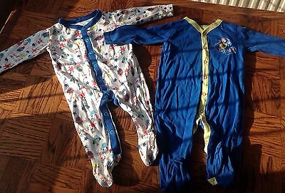 Set Of 2 Rocket Sleepsuits 6-9 Months Blue Aliens Monsters