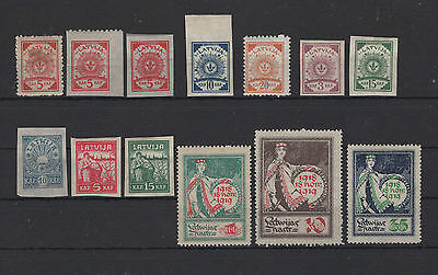 Lettland 1919  Lot aus Nr.7ABC-35 **, *
