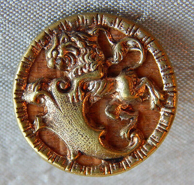 Antique Vintage Brass and Wood Picture Button Lion #1305-A