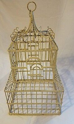 Vintage Ornate Mid Century Modern Bird Cage with Bottom Access