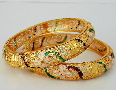 Indian Meenaki Gold Plated Bangls Jewelry Bollywood Traditional Ethnic Set