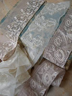 3 lengths antique vintage 1920s French embroidered tulle lingerie lace