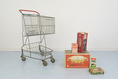 Vintage 1960s French Small 'Caddie' Metal Shopping Trolley / Cart / Storage