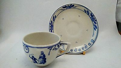VERY RARE Royal Delft Handpainted Moederdag Mother's Day 1974 Cup & Saucer Set