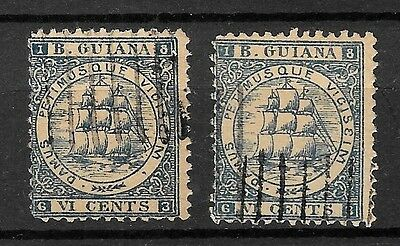 BRITISH GUIANA 2x YACHT SAILING VI CENTS / LOOK PICTURES