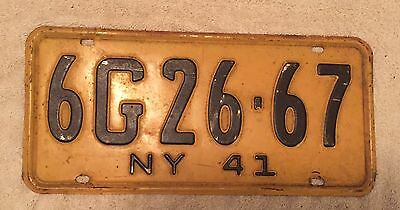 Nice Good Solid 1941  New York License Plate  Free Shipping