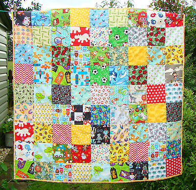 handmade patchwork i-spy quilt throw tummy time