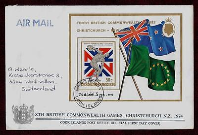 Nice Cover Commonwealth Games 1974 Flags Sheet Fdc Cook Islands !! Look !!