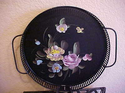 Round Toleware Hand Painted Black Serving Tray