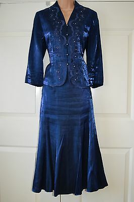 Metalic Blue Mother Of The Bride Maxi Swing Skirt Suit Beaded Jacket Size 10