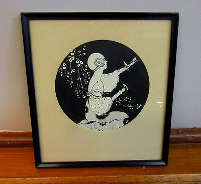 * Vintage Art Deco Style Girl  * Original India Ink Drawing * Early Simson Decal