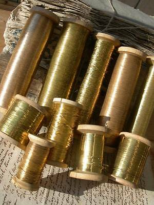 Wonderful collection 10 antique French reels gold metallic thread - convent find