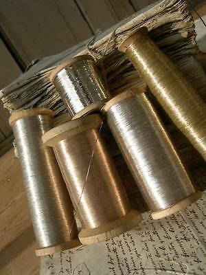 Divine collection 5 antique French reels silver metallic thread - convent find
