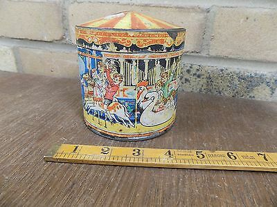 Huntley & Palmers Fairground Carosel Roundabout Biscuit Tin c1930s