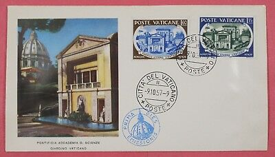 1957 Vatican City #227-228 Pontifical Academy Of Science Set Fdc Cachet Cover 2