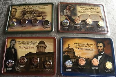 2009 Ultimate Lincoln Head Cent Showpak Set Colorized & 24k gold plated versions