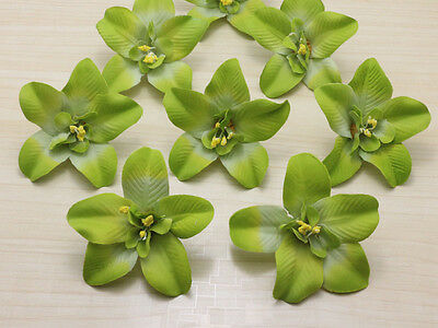 10pcs Green Cartland Artificial Thai Orchid Silk Flowers Heads Wedding Floral