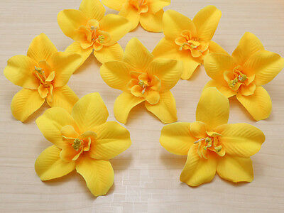 10pcs Yellow Cartland Artificial Thai Orchid Silk Flowers Heads Wedding Floral