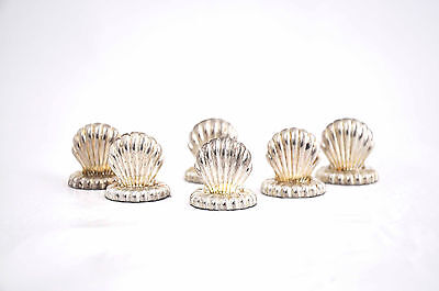 6 Vintage Silver Plated Clam Shell Place Card Name Card Holders