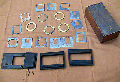 Vintage Lot Metal Plates Brass Flanges Wood Lens Boards for Plate Camera w/ Box