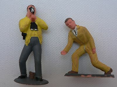 Scalextric,  two Tri-ang vintage original pink figures .