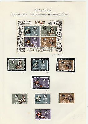 Botswana stamps 1970 Charles Dickens MS, MH set & UH set