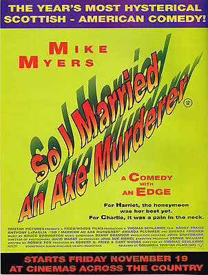 So I Married An Axe Murderer 1993 Original Film Magazine Ad Advert Mike Myers