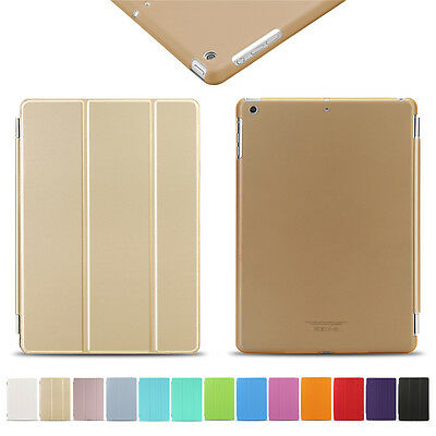 Gold Luxury Slim Leather Smart Magnetic Stand Cover Case for Apple iPad 5 Air