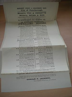 Particulars & Conditions Of Sale Of 18 Freehold Houses In Peterborough In 1928